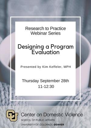 Designing a Program Evaluation Webinar