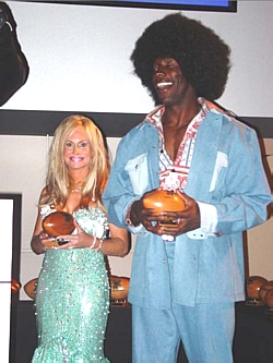 Event co-chairs Annabel Bowlen, President of the Court House, Inc. Guild, and Shannon Sharpe of the Denver Broncos teamed up for Sharpe's annual Gridiron Halloween costume party