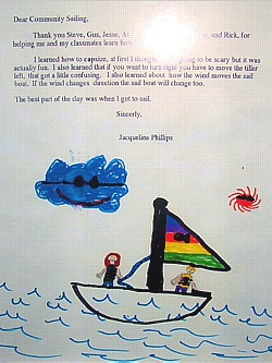 Just one of the hundreds of letters Community Sailing receives each season from grateful kids and their parents