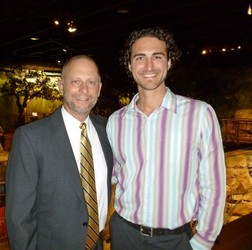Denver Rescue Mission's Brad Meuli, left, with guest of honor Mike Yankoski