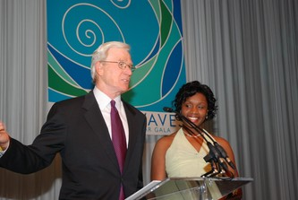Steve McConahey and Alexandria Batiste, recipient from the Boettcher Branch