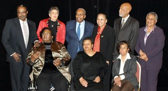 The Little Rock Nine: from left rear: Jefferson Thomas, Carlotta Walls LaNier, Ernest Green, Gloria Ray Karlmark, Terrence Roberts, Minnijean Brown Trickey. Front from left: Melba Pattillo Beals, Elizabeth Eckford, Thelma Mothershed Wair