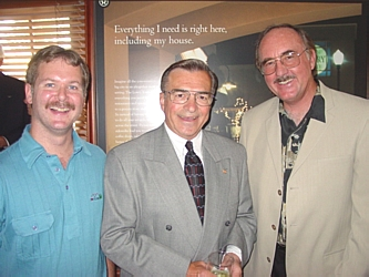 Former Mayor of Aurora Paul Tauer, center, with David Elliott, left, and Dennis Heap