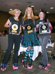 Roller Dolls, from left to right, Tammy Oler (