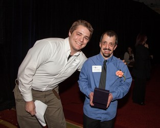 Nick Willis (left) with Bruce Deese, Inspiration Award recipient