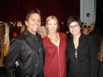 Max Martinez of MAX with manager and buyer Jill Vincent and fashion show coordinator Holl Kabacoff getting ready for the fashion show benefitting Volunteers of America
