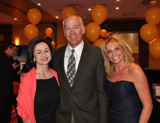 Co-chairs Michele Falivene and Lisa Williams with the evening's honoree, John Fielder