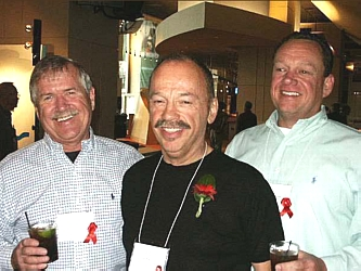 Long Time CAP supporters and committee members, Rick Grasmick, Lee Rudofsky and Scott Henderson. Lee was involved at the begiining with the Art for AIDS concept.