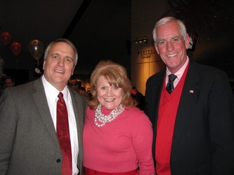 Governor Bill Ritter, left, takes a minute for a photo with Vice President of Marketing and Development for University of Colorado Hospital Angela Lieurance and Pete Coors