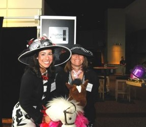Marcia Donziger (left), and Carol Karshmer at the derby photo booth