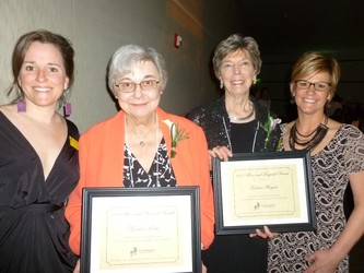 (l to r): Laura Meixell, Above and Beyond Award recipients Suzanne Burm and Kirsten Morgan, and Lisa Zavoda