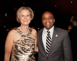 Leslie Foster, CEO of The Gathering Place, with Denver Mayor Michael Hancock