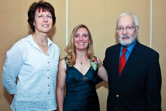 2009 Hall of Fame inductees, Rhona Kaczmarczyk, left, with Becky Varnum and Jack TerBorg