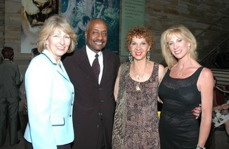 Left - Executive Director Joan Gabrielson, emcees Tom and Cleo Parker Robinson and honoree Janet Elway