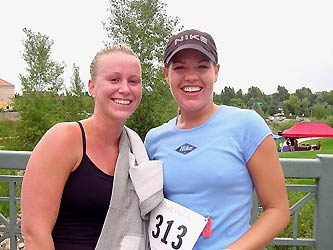 Kelli Gilchrist, left, and Bekki Ash were among early finishers in the First American State Bank Fitness Festival