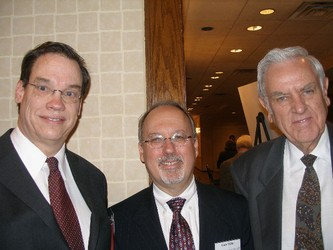 Judge Thomas R. Phillips - Keynote speaker, left, with Gale T. Miller - CJI Board Chair and Laurence De Muth Jr. - CJI Board member