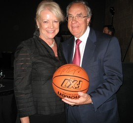Sharon Magness Blake and Ernie Blake won a basketball autographed by Denver Nugget Chauncey Billups