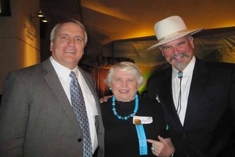 Governor Bill Ritter, left, Hildegard Messenbaugh, founder of Third Way, William Matthews, President of board.
