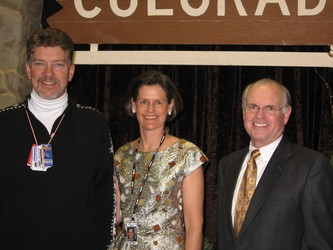 Tim and Kathryn Ryan, event co-chairs, with DMNS president and CEO George Sparks