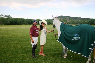 Jose Rodriguez proudly stands with Miss Colorado Keena Bonella and his Best Playing Pony