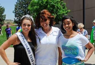 Chloe Brown, Miss Teen Colorado, left, with Sandy Parker and Reina Parker