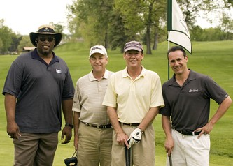 Left to Right: Former Bronco Ken Lanier, Mike Rosen (85 KOA - sports announcer and columnist), Jay Kisskalt (ESPN Radio) and Steve Gottsegen (weekend sports anchor, KMGH 7News Denver)