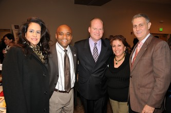 Begona Chao, left, with Mayor Michael Hancock, Gregg Moss, Lucille Rivera, and Andres Chao