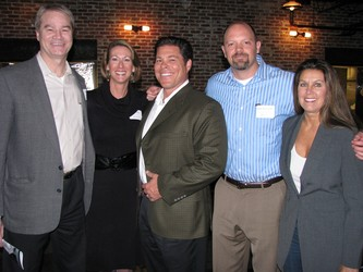 CETAV co-founders Gary and Laura Ebel, left, Bob Mordini, Dan Watters, and Jill Mordini enjoy the evening together