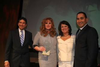 Chairman of the Board Luis Colon, Business Woman of the Year recipient Ivette Dominguez, Corporate Advocate of the Year recipient Perla Gheiler  and President and CEO of the DHCC Jeffery Campos