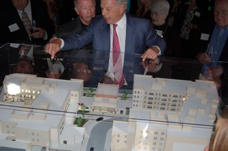 Michael Schonbrun shows off the architectural model of Balfour