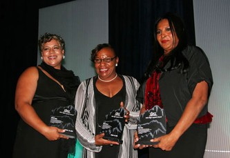 Stephanie O'Malley, left, for Wilma Webb; Sharon Hill, for Diane Reeves; Pam Grier, proud recipients of the Legends Award.