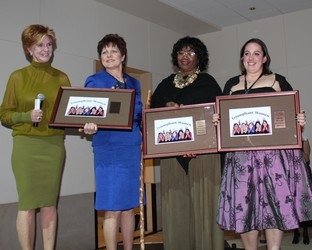 Rhonda Vickers, left, introduced the honorees: Representative Cindy Acree, Ryta Sondergard, and Rebecca Bell