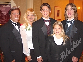 Honoree Steve Kelley, Co-Host of Colorado Morning News on 850 KOA Radio, with his wife Kathy Jo, sons Adam, left, and Jonathan and daughter Jenna