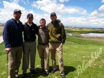 On the teebox (l to r): Matt Miller, Justin Lampe, Tim Duda and Zach Roth