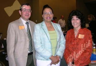 From left to right, President Tim Welker, Mary Davis and Karen Gonzales