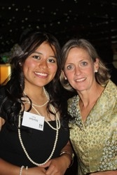 PAVE scholarship recipient Maribel Reyes with First Lady Jeannie Ritter