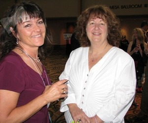 Elaine Atwater, left, smiles for a picture with Carol Beauchamp-Hunter