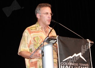 ESPN sports anchor Neil Everett helps induct the late Clayton Benham into the Colorado Tennis Hall of Fame