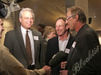 Gridiron heroes Jim Jensen, John Schultz and Tom Glassic, in front of the cameras once again