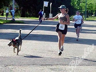 Nancy Seevers and Tien were the only six-legged team in the 5K.