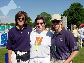 Event managers Ellyn Coughlin, left, and Amy Downing flank Safehouse Development Director Brenda Roush.