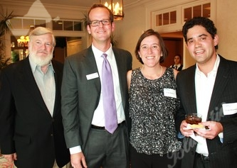 MHAC honorary board member Cy Harvey, left, with Tribute Chairs Seth and Cody Belzley and board member Evan Silverman