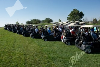 The long line of golf carts