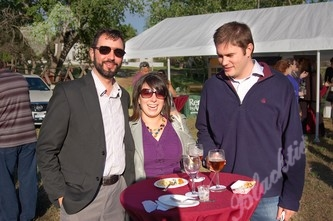 Owen Loftus, Crystal Bouziden, Jason Alexander enjoy the sunny weather