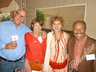 On the enclosed terrace (l to r): Jeff Zinn, Nancy Alterman, Cleo Parker Robinson and Bernard Grant