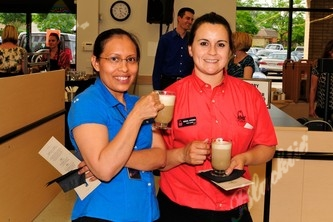 Linda Hernandes, left, Rosa Avena enjoying cappuccino