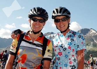 Jewel McGarraugh (left) and Lynda Baker from Colorado Springs at the first rest top of today's ride.