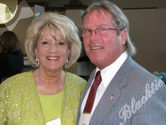 Peggy and Fred Calhoun smile at the start of a great evening