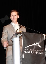Chad Harris speaks after his induction to the Colorado Tennis Hall of Fame