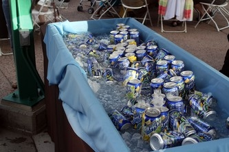 A cooler full of drinks ensured no one went thirsty on a warm Denver night at the zoo.